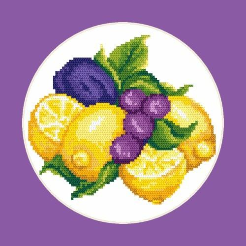 Lemons with plums - Tapestry aida