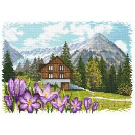 Crocuses in the Alps - Tapestry aida