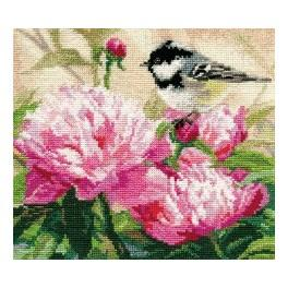 ALI 1-22 Cross stitch kit - Titmouse and Peonies