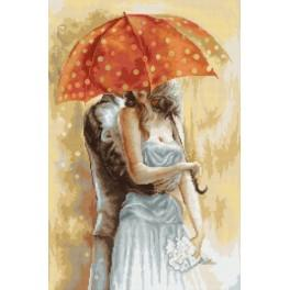 LS G555 Cross stitch kit - Under umbrella 2