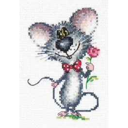 MN 18-68 Cross stitch kit - Mouse with a rose