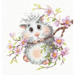 MN 18-92 Cross stitch kit - Hamster on the branch