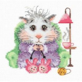 Cross stitch kit - Hamster is knitting