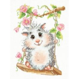 Cross stitch kit - Hamster on a swing