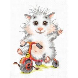 Cross stitch kit - Hamster on the bike