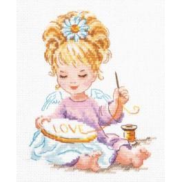 Cross stitch kit - Little girl emroidering