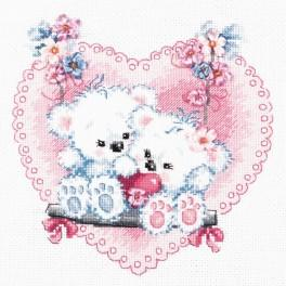 Cross stitch kit with beads end ribbons - Happy love