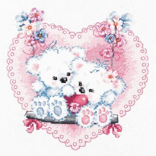 MN 80-06 Cross stitch kit with mouline, beads and ribbons - Happy love