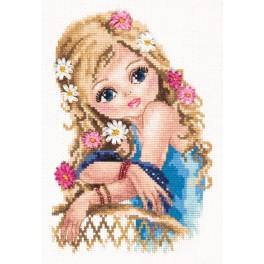 Cross stitch kit with beads end ribbons - Most beautiful
