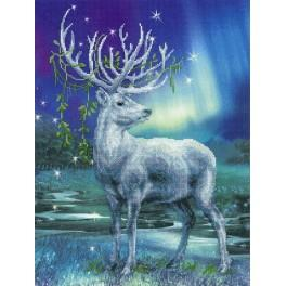 Set with mouline and printed background - White deer