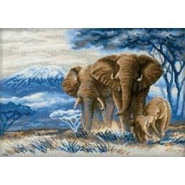 Cross stitch kit - Elephants in the savannah