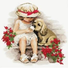 Cross stitch kit - Girl with a dog