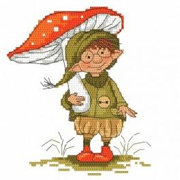 Cross stitch kit - A gnome with a toadstool