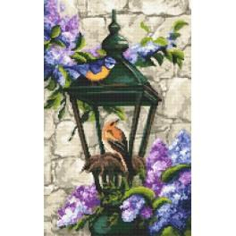 Cross stitch kit - Lighthouse with lilacs