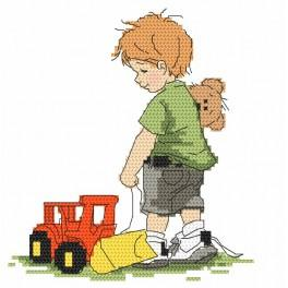 Cross stitch kit - Boy with a digger