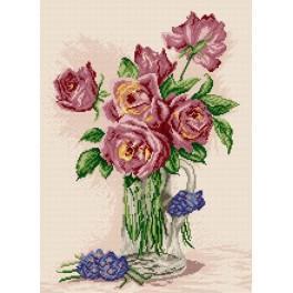 Zestaw z muliną - Róże w wazonie