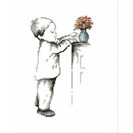 Zestaw z muliną - Chłopczyk z wazonikiem