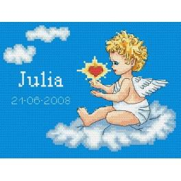 Z 4844 Cross stitch kit - My birthday - Angel on a cloud