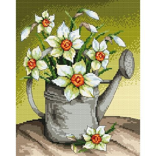 Z 4855 Cross stitch kit - Narcissi in the watering can