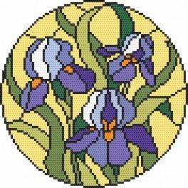 Cross stitch kit - Stained Glass - Irises