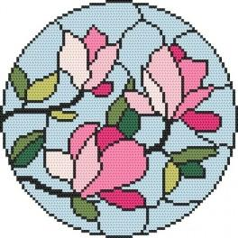 Cross stitch kit - Stained glass – Magnolias