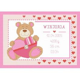 Cross stitch kit - Birth certificate with teddy bear