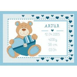 Z 8633-02 Cross stitch kit - Birth certificate with teddy bear