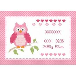 Z 8634-01 Cross stitch kit - Birth certificate with owl