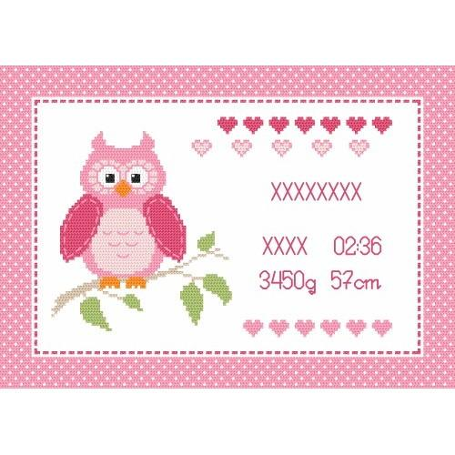 Cross stitch kit - Birth certificate with owl