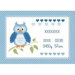 Z 8634-02 Cross stitch kit - Birth certificate with owl