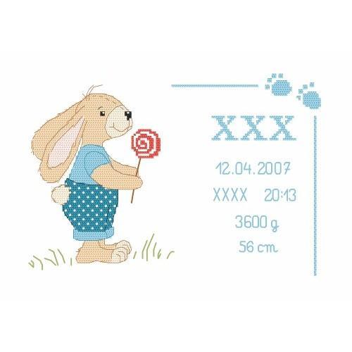 Cross stitch kit - Birth certificate with bunny