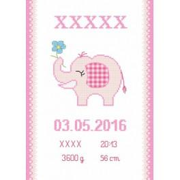 Cross stitch kit - Birth certificate with an elephant