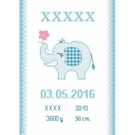 Z 8636-02 Cross stitch kit - Birth certificate with an elephant