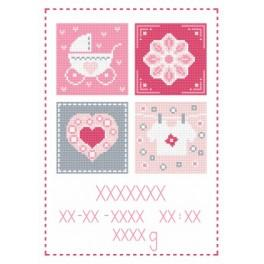 Z 8677-01 Cross stitch kit - Birth certificate for girl