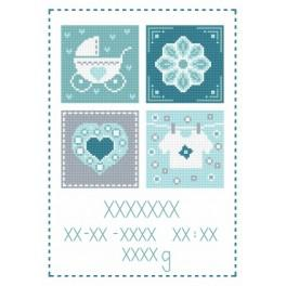 Cross stitch kit - Birth certificate for boy