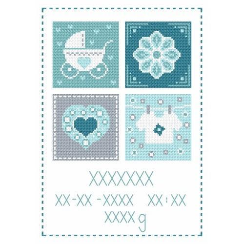 Cross stitch kit - Birth certificate for boy