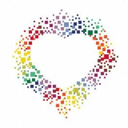 Z 8708 Cross stitch kit - Colourful heart