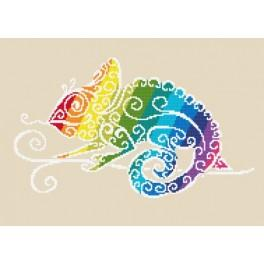 Cross stitch kit - Rainbow chameleon