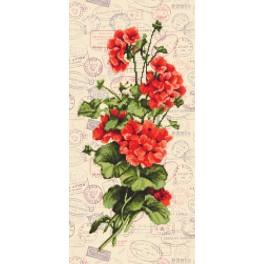 Kit with printed pattern, mouline and printed background - Red geraniums