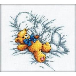 Cross stitch kit - Baby with teddy-bear