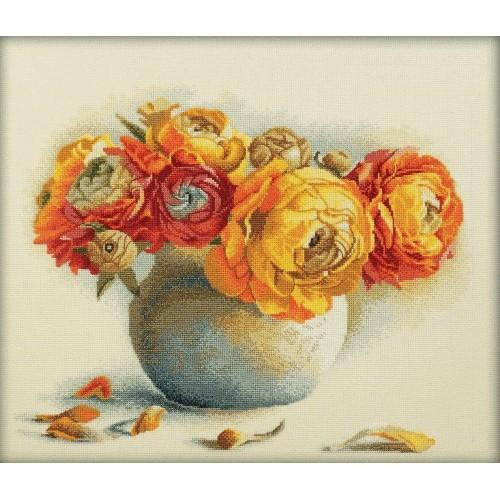 Cross stitch kit - Peonies in the vase