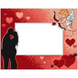 Cross stitch kit - Valentine's day frame with cupid