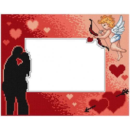 ZU 4846 Cross stitch kit - Valentine's day frame with cupid