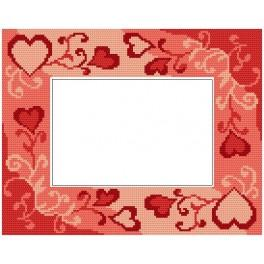 Cross stitch kit - Valentine's day frame with hearts