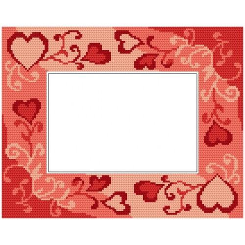 ZU 4847 Cross stitch kit - Valentine's day frame with hearts