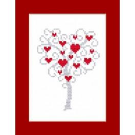Cross stitch kit - Card - Tree of hearts