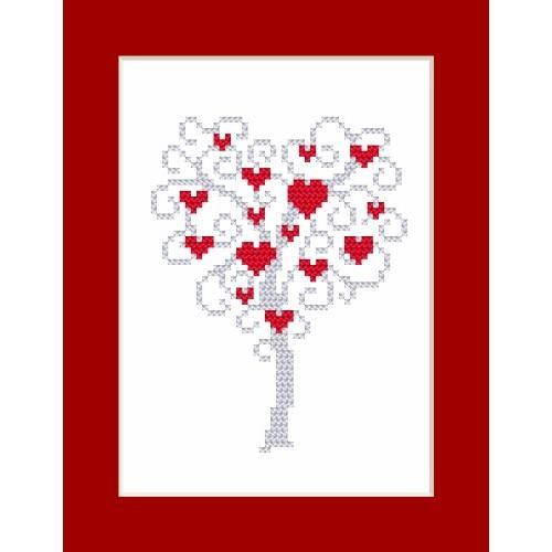 Cross stitch kit - Card - Tree of hearts