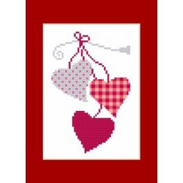 Cross stitch kit - Card - Hearts