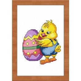 Zestaw nadrukiem, muliną i ramką - Wielkanocny kurczaczek