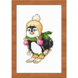 Kit with tapestry, mouline and frame - Penguin on skis